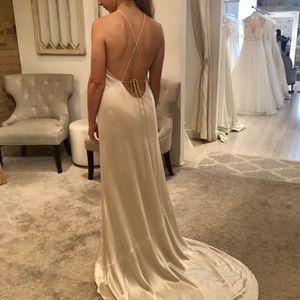 Champagne Backless Satin Slip Wedding Dress